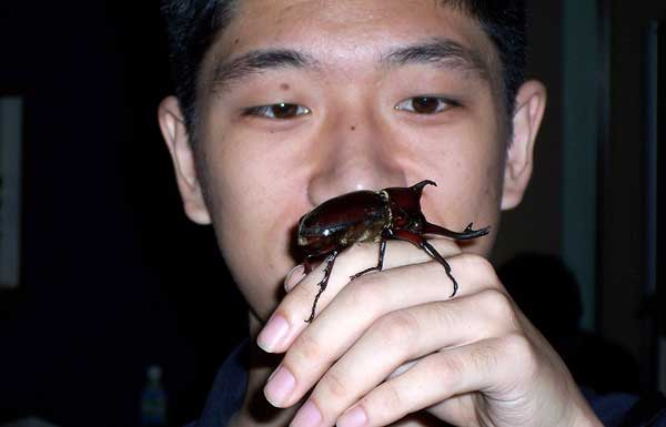 Kamiya-san in Japan, 2005, getting close to his subject...